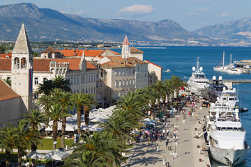 Tourists visit Old Town Trogir in Croatia