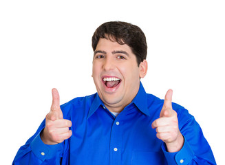 Guns sign happy man showing thumbs up on white background