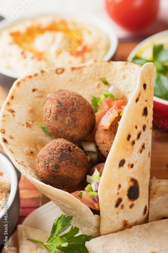 Falafel, deep fried chickpea balls on pita bread