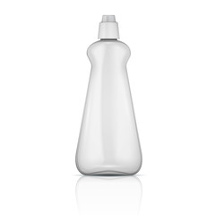 Transparent plastic bottle with riffle cap.