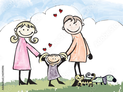 A happy family, cartoon illustration  no gradients.