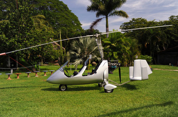 Autogyro parked on the private airfield