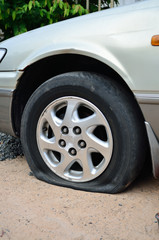 Flat tire on car