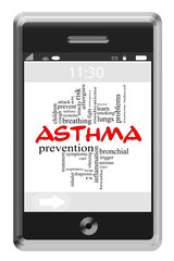 Asthma Word Cloud Concept on a Touchscreen Phone