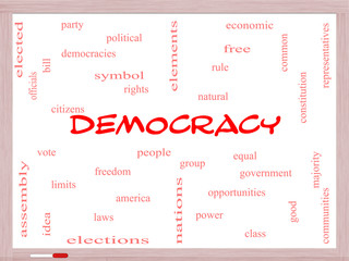 Democracy Word Cloud Concept on a Whiteboard