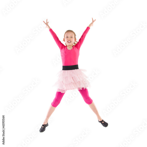 Little pink ballet dancer jumping