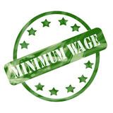 Green Weathered Minimum Wage Stamp Circles and Stars poster