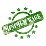 Green Weathered Minimum Wage Stamp Circle and Stars design poster