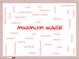 Minimum Wage Word Cloud Concept on a Whiteboard poster
