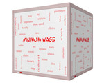 Minimum Wage Word Cloud Concept on a 3D cube Whiteboard poster