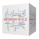 Minimum Wage 3D cube Word Cloud Concept poster