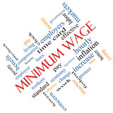Minimum Wage Word Cloud Concept Angled poster