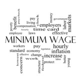 Minimum Wage Word Cloud Concept in black and white poster