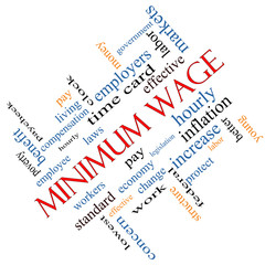 Minimum Wage Word Cloud Concept Angled