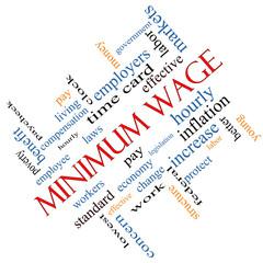 Minimum Wage Word Cloud Concept Angled