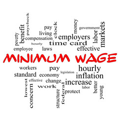 Minimum Wage Word Cloud Concept in red caps