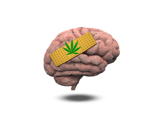 Wounded Brain with Marijuana Leaf