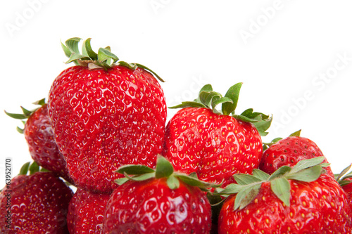 close up of fresh strawberries, isolated