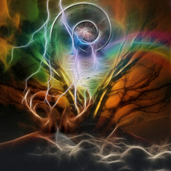 Surreal artistic image with time spiral