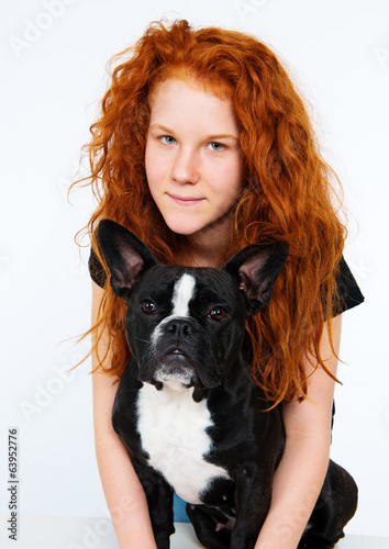 red-haired girl with dog