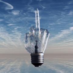Middle finger light bulb