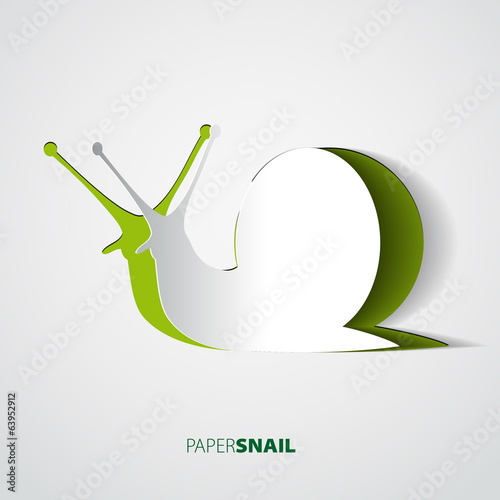 Snail papercut vector illustration