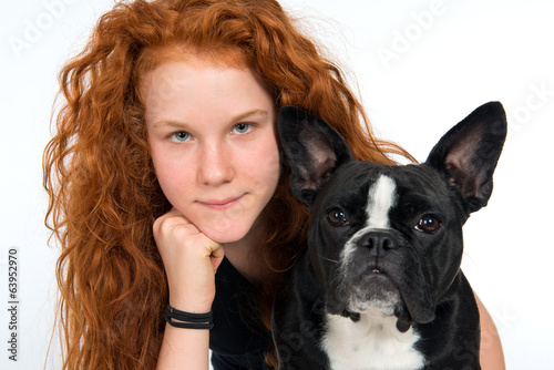 red-haired girl withn dog