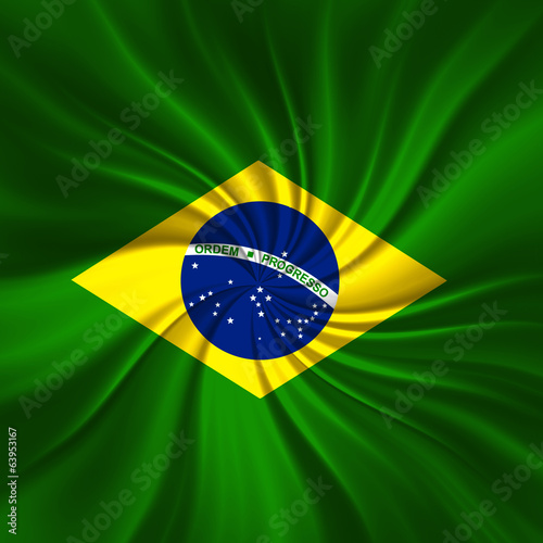 brazil flag fabric and abstract background