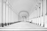 Długa barokowa kolumnada w czerni i bieli
