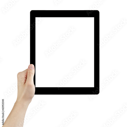 adult man hand holding generic tablet pc with white screen