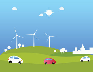 Wind turbines and cars