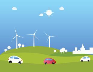 Wind turbines and cars