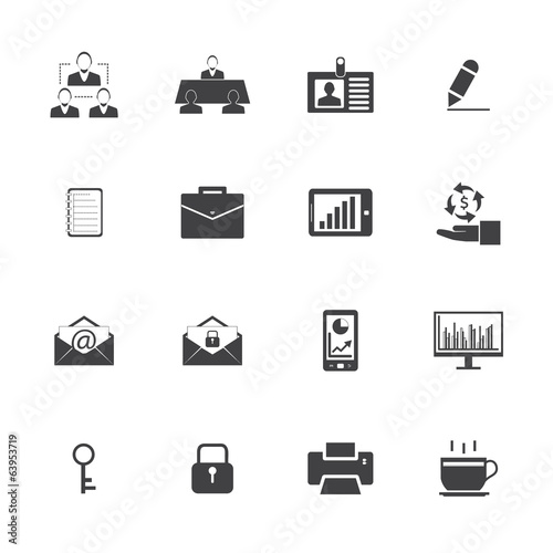 Black and White Business and office icons set.Vector eps 10