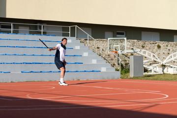 Senior Caucasian Man Playing Tennis