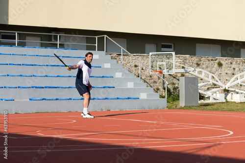 Senior Caucasian Man Playing Tennis