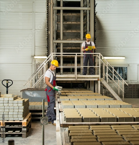 Two workers in safety hats on a factory
