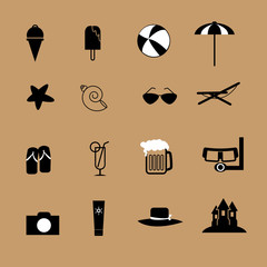 Summer beach icons set