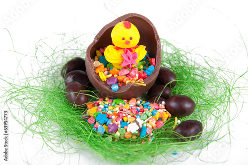 chocolate easter eggs with chick