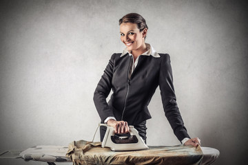 ironing businesswoman