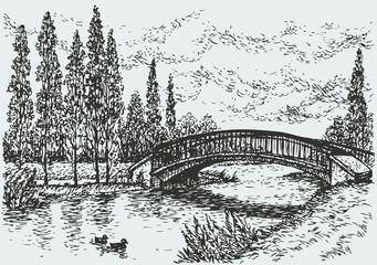 Vector landscape. Bridge over river and poplars along the road