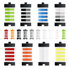 colourful battery icons