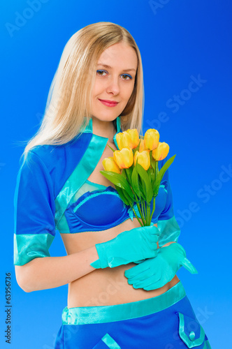 Sexy air stewardess with flowers. Hostess