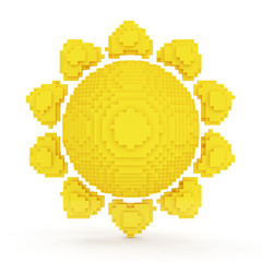 Sun Icon in Pixel Style isolated on white background