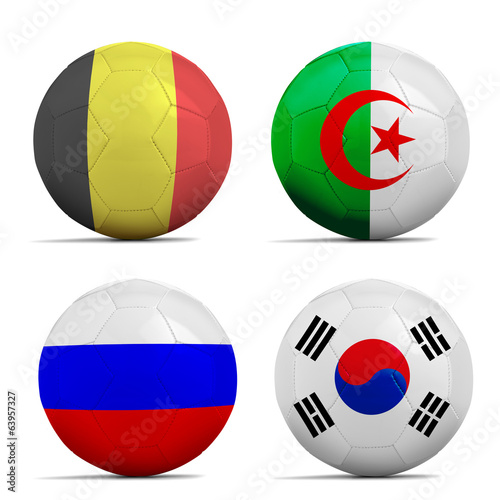 Soccer balls with group H teams flags, Football Brazil 2014.