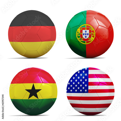 Soccer balls with group G teams flags, Football Brazil 2014.