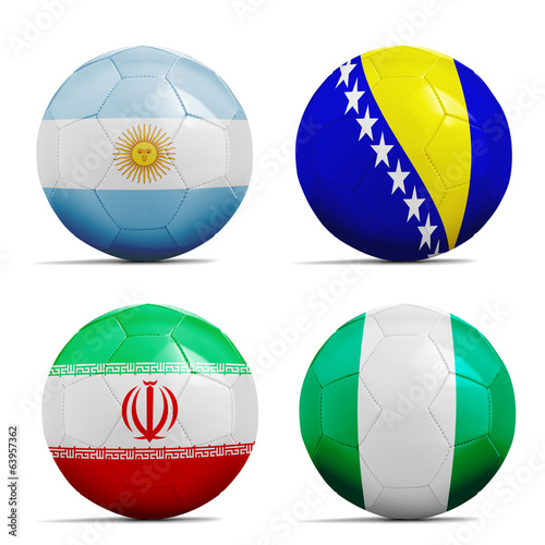 Soccer balls with group F teams flags, Football Brazil 2014.