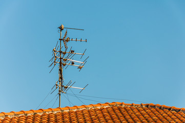 TV antenna on red roof