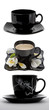 Collage of black cups