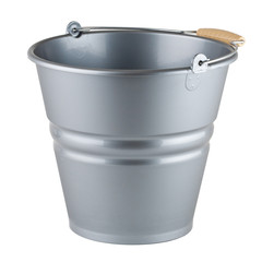 One empty bucket on white background