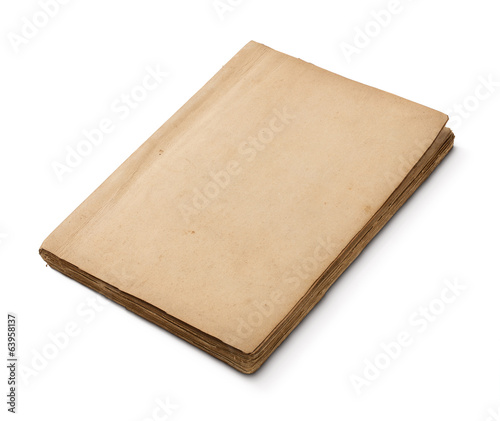 Old damaged blank book isolated on white background